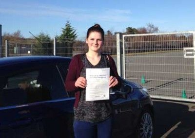 Gina from Penmaenmawr after passing the driving test in Bangor on 4th february 2015