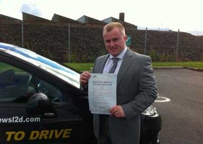 Dave Davies of Llandudno Junction passed driving test pass at Bangor today 4th October 2012