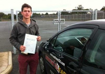 Evan Griffith of Deganwy passed driving test pass at Bangor today 28th September 2012