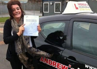 Sophie Cassidy of Llandudno Junction Passed driving test today at Bangor Driving Test Centre 6/03/2012