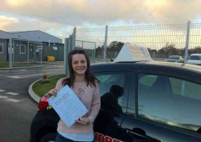 Georgia Smith Penmaenmawr passed driving test first time at Bangor