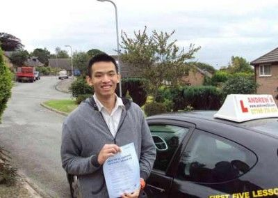 Kev Chen Llanfairfechan after passing his driving test in Bangor