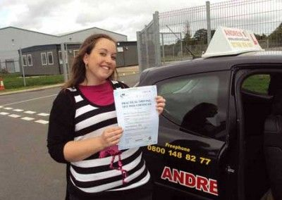 Pam Hughes Dwygyfylchi passed driving test first time at Bangor