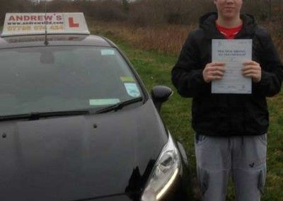 Joe Roberts from Eglwysbach North Wales passed his driving test today at Bangor 16th December 2014