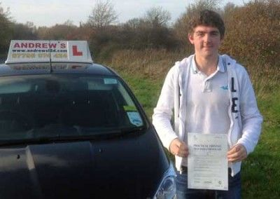 Steven Peters from Deganwy North Wales passed his driving test first time today at Bangor 29th November 2014