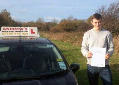 Harry Mysangyi from Conwy North Wales passed his driving test first time at Bangor 24th November 2014