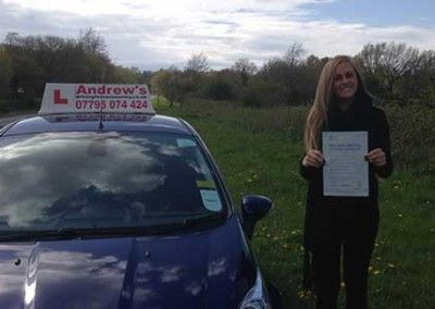 Alyshea from Llanfairfechan Passed driving test at Bangor on 27th April 2015