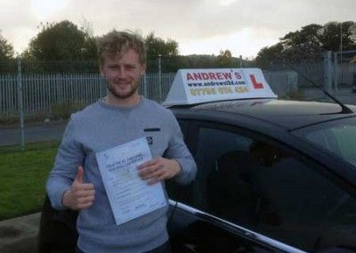 Hugh Griffith of Deganwy North Wales passed his driving test first time today 21st October 2014 at Bangor Driving test centre