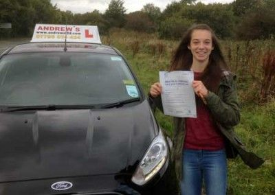Kelsey Davies of Llandudno Junction North Wales passed her driving test today 13th October 2014 at Bangor Driving test centre