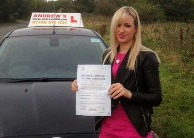 Vicci Maund of Llandudno Wales passed her driving test today 8th October 2014 at Bangor Driving test centre