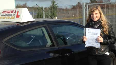 Danielle Eccles of Deganwy passed first time at Bangor today February 27th 2014