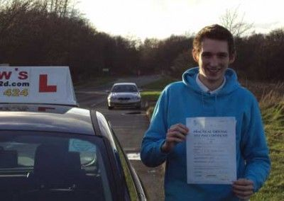 Jordan Sidwells of Llandudno Junction passed first time at Bangor today February 10th 2014