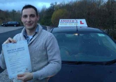 Tim Lea of Llandudno Junction passed driving test first time at Bangor on 29th November 2013