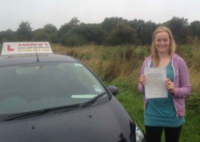Emma Thomas of Penmaenmawr Passed Driving test at bangor 4th October 2013
