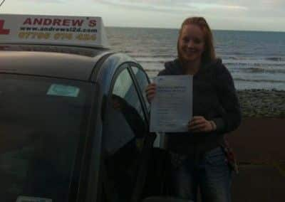 Rebecca Turley of Penmaenmawr a great pass today at Bangor driving test