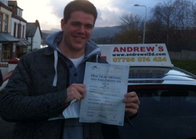 Matt Neale of Deganwy passed first time today at Bangor Driving Test Centre 3rd December 2012