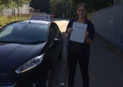 Beth Adams from Deganwy in North Wales passed her driving test on the first attempt in Bangor on 3rd October 2016.