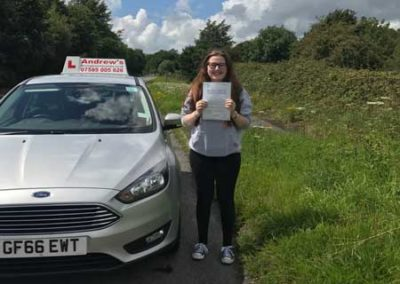 Hannah Kearney passed the driving test first time in North Wales 5th August 2017.