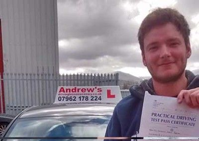 Joe Benton of Llandudno passed driving test at Bangor 28th April 2015