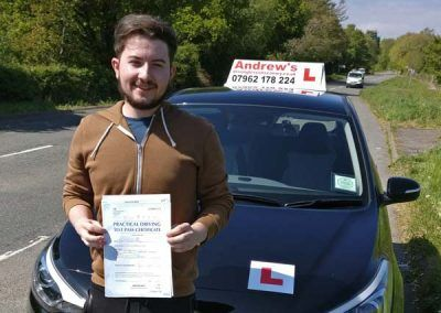 Ryan Hexley from Penmaenmawr passed first time at Bangor 9th May 2017.