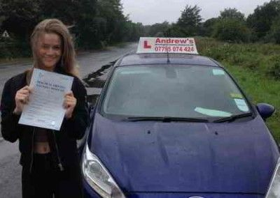 Bethan Jones Llandudno Junction Passed driving test first time  27th July 2015