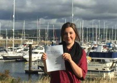 Lydia, passed first time in Bangor on 22nd September 2015