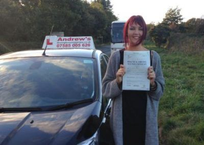Jade Jones from Rhos on Sea North Wales passed in Bangor with no minor faults on 1st November 2016