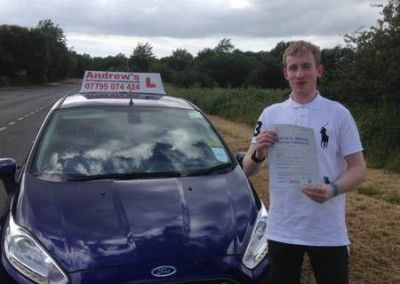 Callum from Llandudno Junction passed driving test at Bangor on 29th June 2015