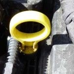 Dipstick location in the engine compartment of a Ford Fiesta