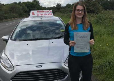 Rachel from Conwy passed first time at Bangor 1st September 2017.