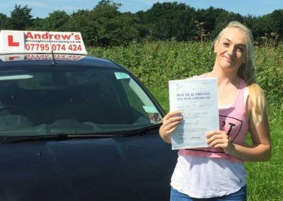 Shannon Frangos from Llandudno passed first time at Bangor 16th August 2016