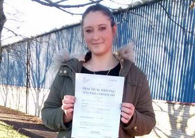Zoe Bell hughes from Llandudno passed on the first attempt at Bangor 26th November 2016