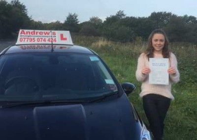 Bethan from Glan Conwy passed driving test at Bangor on 20th October 2015