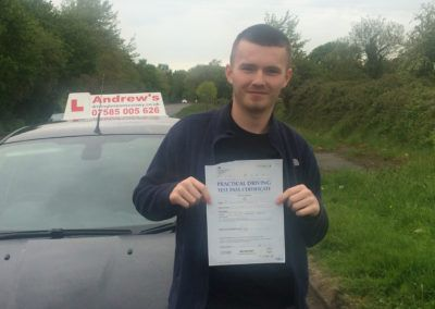 Kyle Owen of Llandudno Junction passed first time at Bangor on 18th May 2016