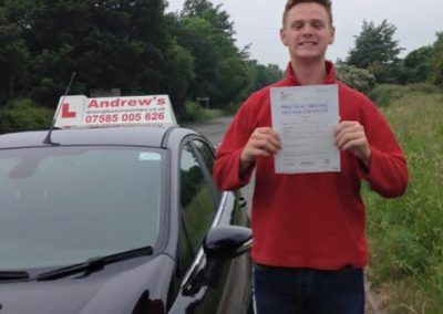 Brad Tustin of Llandudno Junction, Passed test at Bangor on 10th June 2016