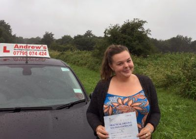 Caitlin Ellis from Conwy passed first time at Bangor Friday 29th July 2016