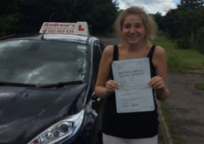 lauren from dwgyfylchi passed first time at Bangor  on 13th July 2016