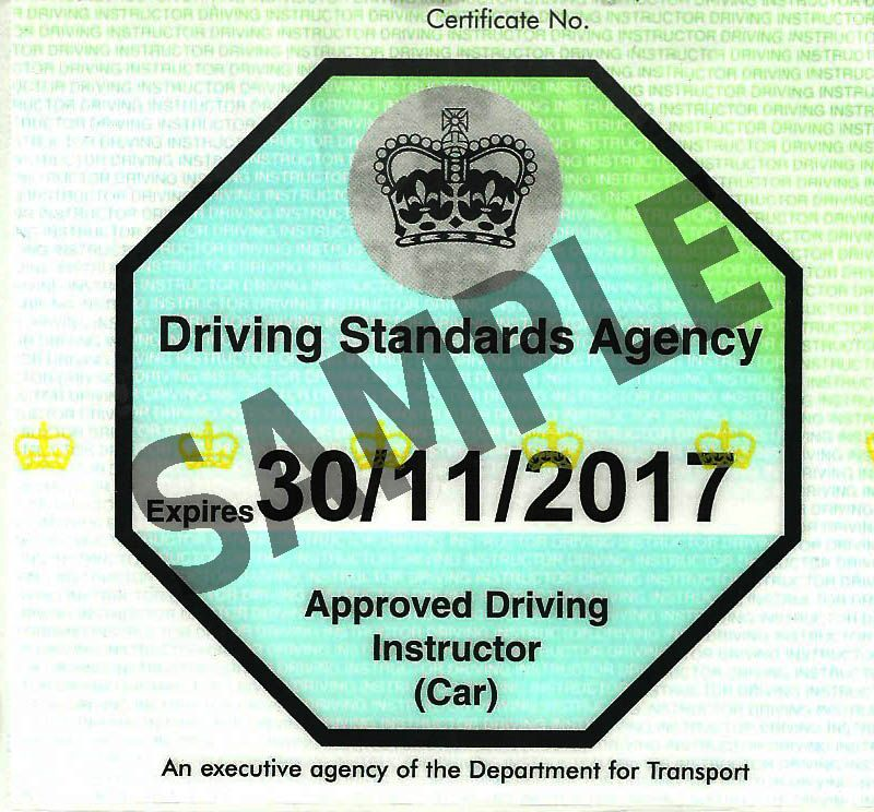 Adi green badge driving instructor licence that you will have when you pass Driving instructor training part 3