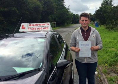 Rhys Williams from Glan Conwy passed first time at Bangor 4th August 2016