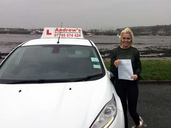 Angharad from Betws y Coed after passing her driving test in Bangor.