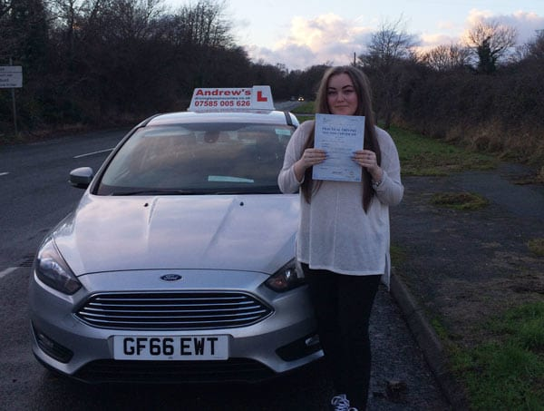 Smiling Abbie from Llandudno after passing her driving test