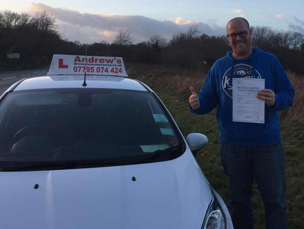 Mark From Old Colwyn North Wales after passing the Driving Test