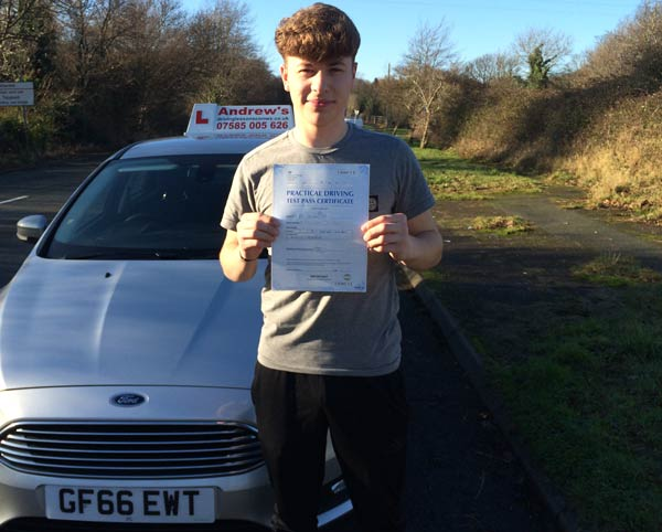 Ryan from Conwy after passing his driving test