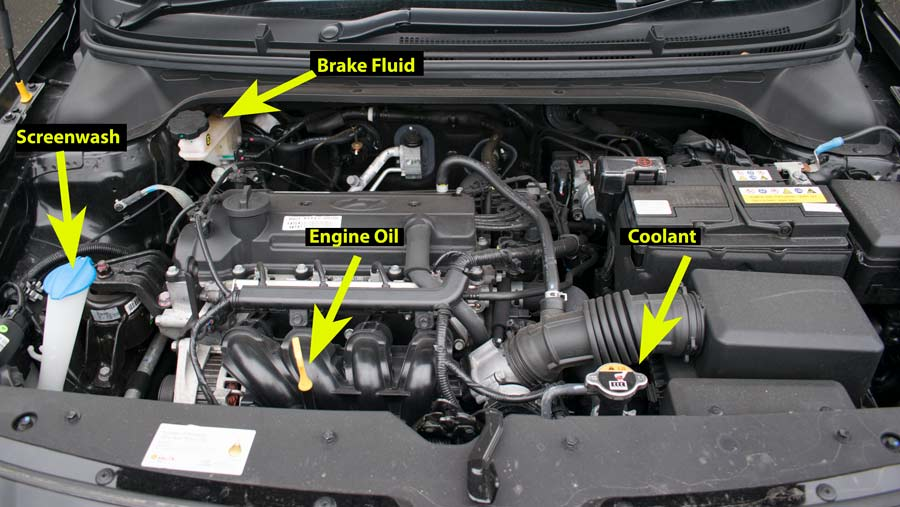 Hyundai i20 engine labelled for show me tell me questions