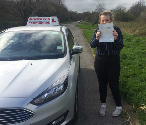 Ebony passed after driving lessons in Rhos