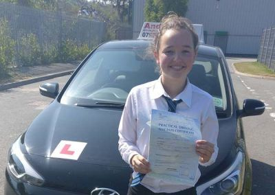 Lauren Holmes from Old Colwyn passed first time at Bangor 9th May 2017