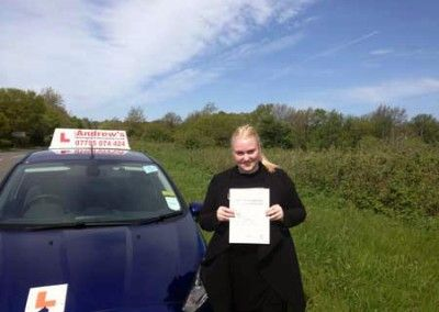 Becky of Llandudno  Junction passed driving test 13th May 2015