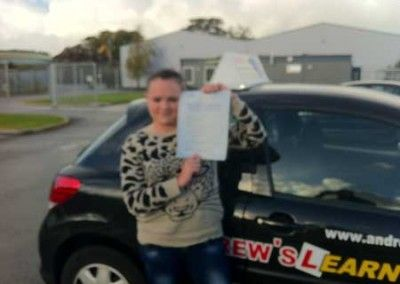 Ceri Roberts of Conwy passed driving test at Bangor today 17th October 2012