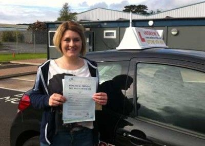 Jessica Ramsden of Llandudno Junction a First Time driving test pass at Bangor today 27th September 2012