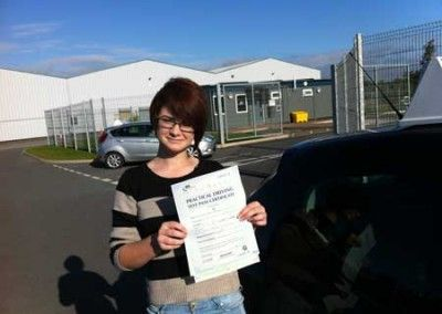 Lisa Sawrey of Dwygyfylchi a First Time driving test pass at Bangor today 7th September 2012